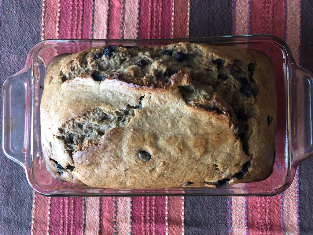 Want to make a healthy and tasty snack with your overripe bananas? Try this Blueberry Cinnamon Chocolate Chip Banana Bread Recipe. You'll love it!