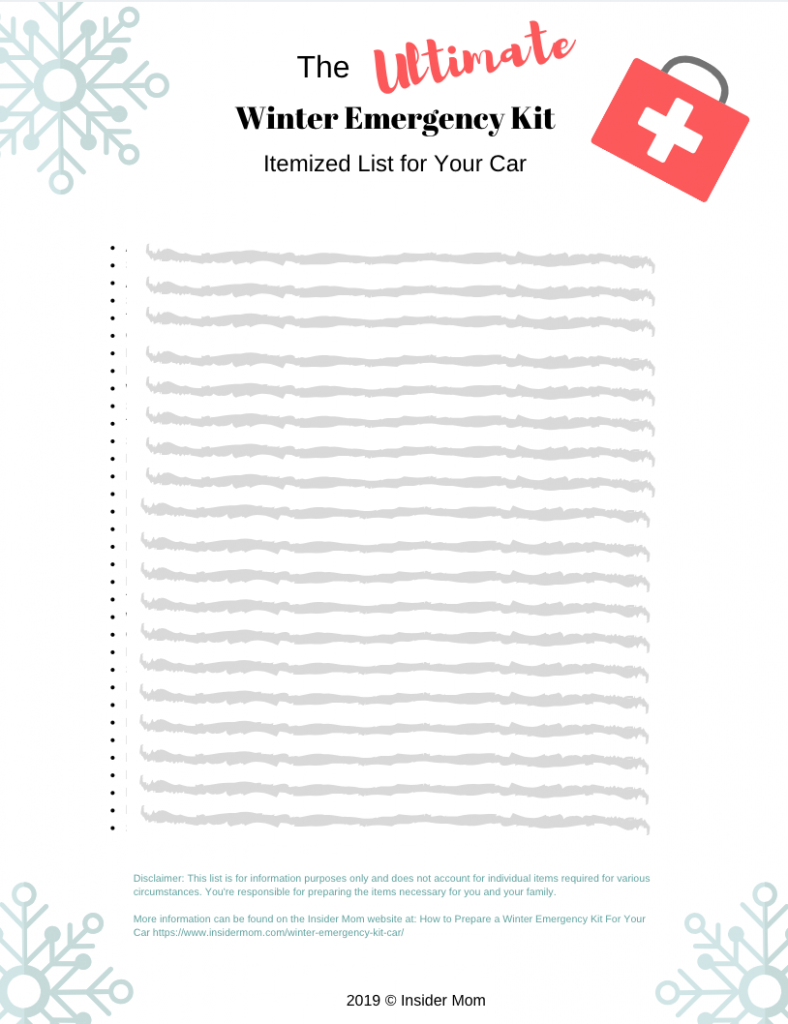 Be prepared for winter with this Winter Emergency Kit Checklist | via Insider Mom #winter #wintercarkit #winterstorm #checklist #printable