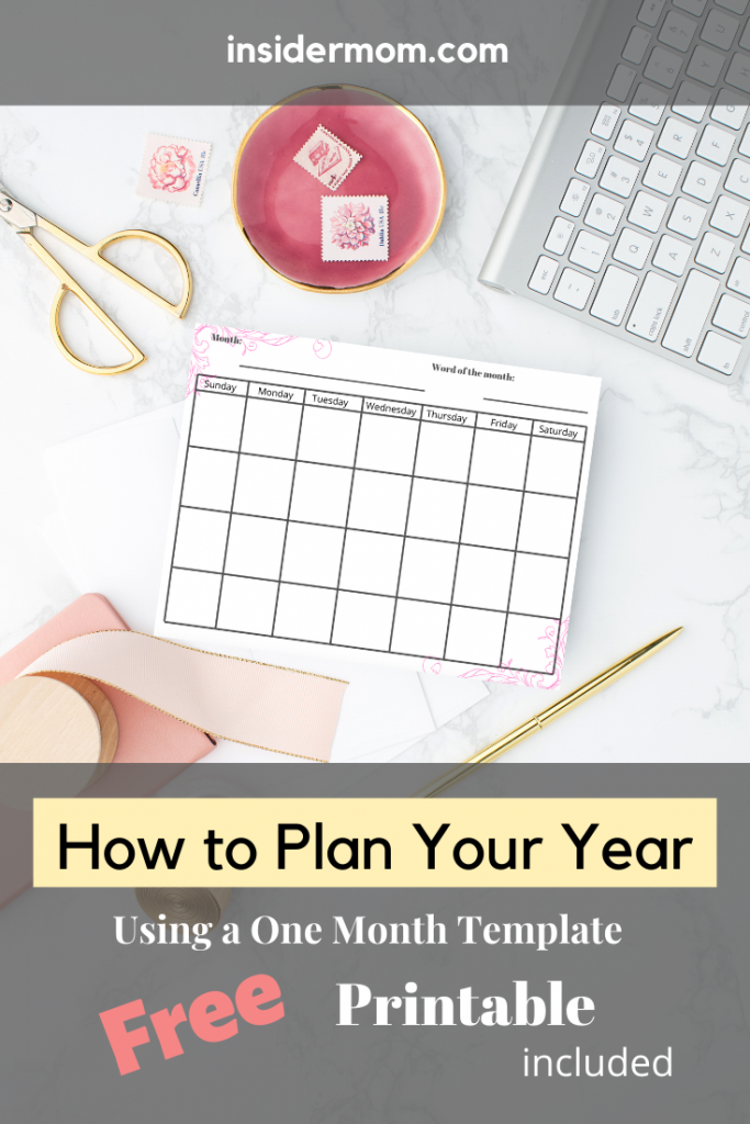 Easily plan your year with this one-month template. Via Insider Mom #calendar #month #template #goals #tasks #lists #schedule