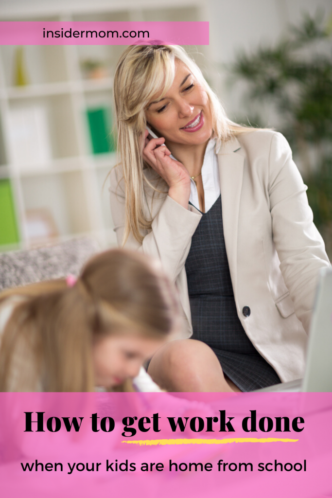 Want to know how to work when your kiddos are home from school? Check out the post via Insider Mom #work #home #wahm #productivity #workathome #kidsactivities #kids #activities