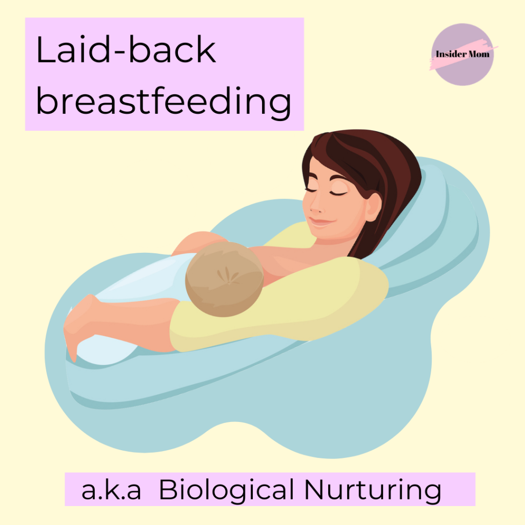 Laid-back breastfeeding is one of the best positions to breastfeed in. Here is a graphic that demonstrates how. For more information on the benefits, check out this post. Via Insider Mom